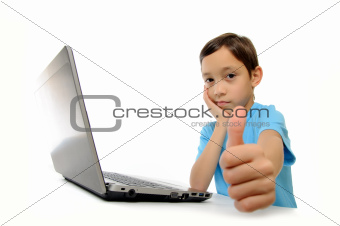 Boy with laptop isolated on white background showing ok isolated