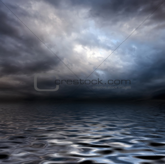 torm sky over water surface