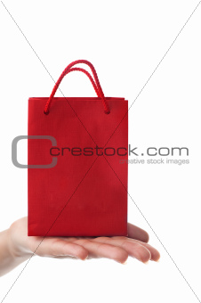 female hand holding red gift bag
