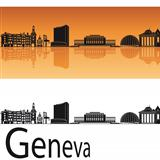 Geneva skyline in orange background