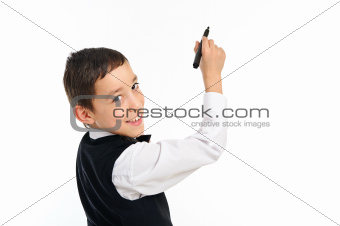 school boy wrighting or drawing with pen isolated on white