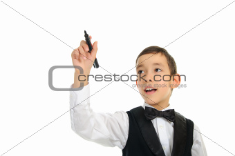 school boy wrighting with pen isolated on white