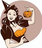 laughing pretty girl in witch costume  with pumpkin in pin up st