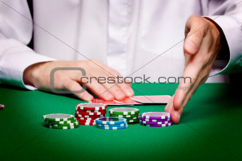 men's hands, playing cards and chips