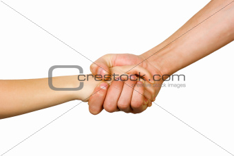 man&#39;s hand squeezes the small hand of the child
