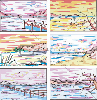 Sketches of coastal landscapes