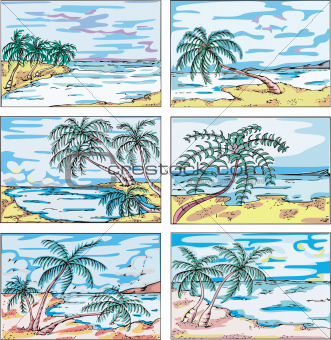 Sketches of landscapes with palm trees on sea coast