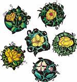 Round yellow flower designs