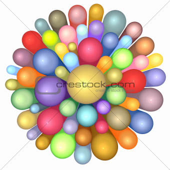 3d radiant flower pattern in multiple rainbow color on white