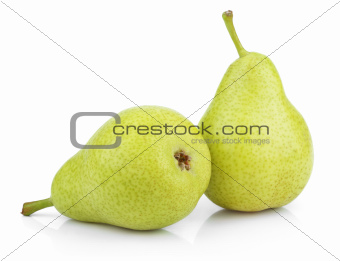 Green yellow pears on white