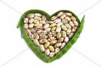 organic string beans on white background;