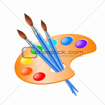 Art palette with paint brush for drawing.