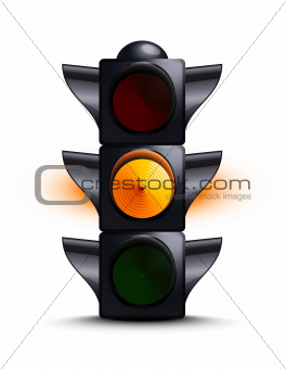 Traffic light on yellow