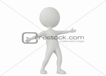 3d humanoid character make a welcome pose