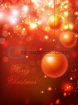 Christmas card or background with snowflakes and lights. EPS 10.
