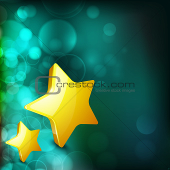 Christmas card or background with golden star. snowflakes and li