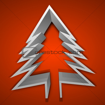 3D Christmas tree on red background. EPS 10.