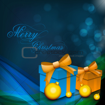 Christmas card or background with gift boxes, eve ball and light