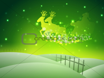 Santa on his sleigh, Christmas background. EPS 10.
