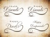 Stylized typography of text happy Diwali. EPS 10.