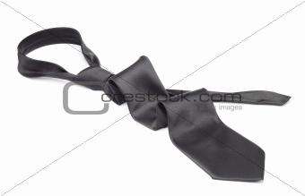 Black necktie taken off