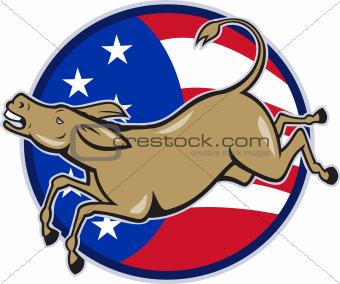 Democrat Donkey Mascot American Flag