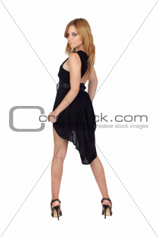 Teen rebellious girl with a black dress