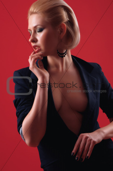 girl in a black suit