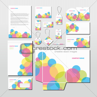 Vector stationery set with colorful circles