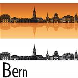 Bern skyline in orange background
