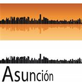 Asuncion skyline in orange background