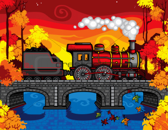 Steam Train crossing bridge