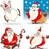 Cartoon Christmas Santa Clauses Set