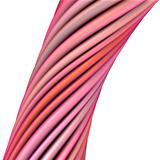 3d glossy twisted cable in pink red on white