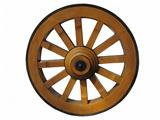 Antique Cart Wheel made of wood and iron-lined, isolated