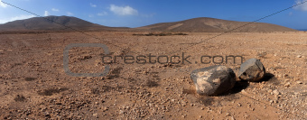 Panorama of rock and volcanic desert, Fuerteventura, Canary Islands