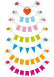 bunting flags with birds, vector set