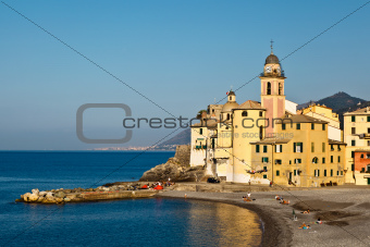 Beautiful Church and Castle in the Village of Camogli, Italy
