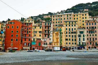 Colorful Facades of Houses on the beach of Camogli, Italy