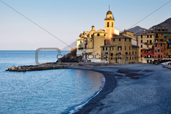 Virgin Mary Church in Camogli at Dawn, Italy