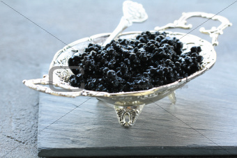 black caviar -  luxurious delicacy appetizer