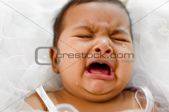 Crying Indian baby girl