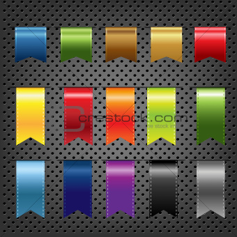 Abstract Metal Background With Ribbons Set