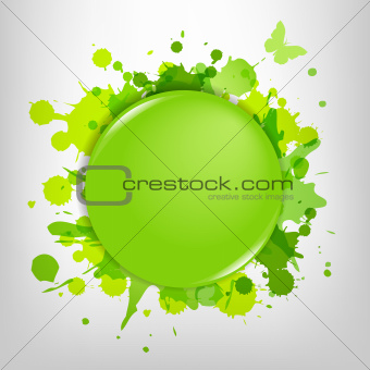 Green Glass With Green Blots