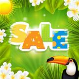 Green Sale Poster With Tropical Elements