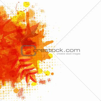 Orange With Blobs Autumn Leafs