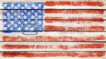 Flag on wood