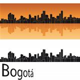 Bogota skyline in orange background