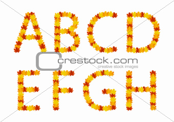 Autumn leaves alphabet letters