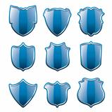 vector set of blue shields